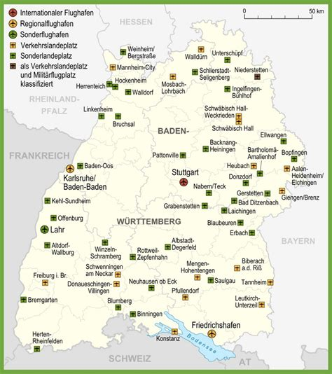 Map of airports in Baden-Württemberg