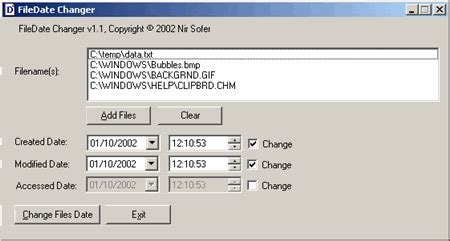 Nirsoft date changer — select which date type (created