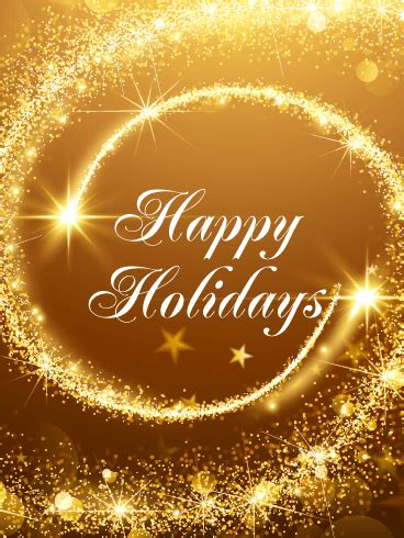 Golden Happy Holidays Card   Birthday & Greeting Cards by