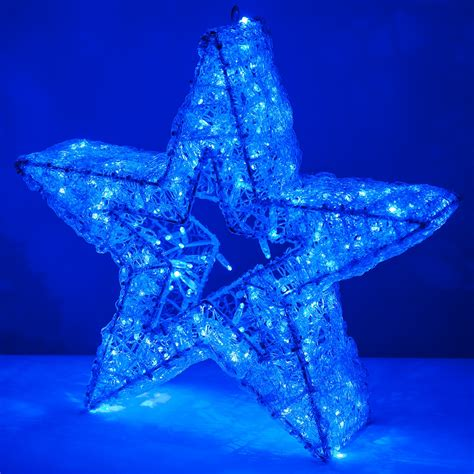 """Snowflakes & Stars - 24"""" Blue LED Five Point Dimensional Star"""