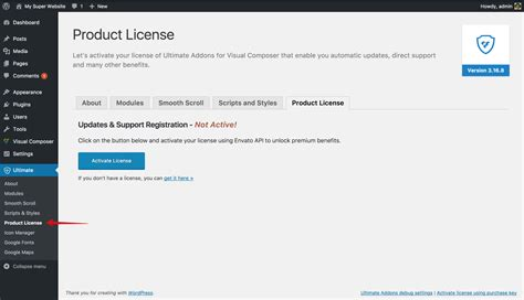 How to activate your license key of the Ultimate Addons