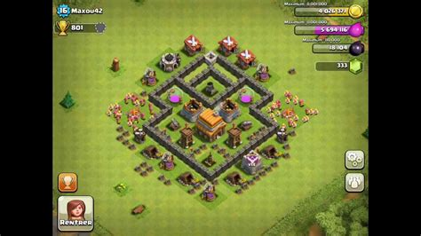 BEST Defense Base For Town Hall Level 4 - Clash Of Clans