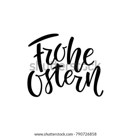 Happy Easter German Text Lettering Calligraphy Stock
