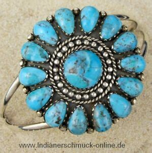 Indian Jewelry Turquoise Cluster Bracelet Navajo Silver   eBay