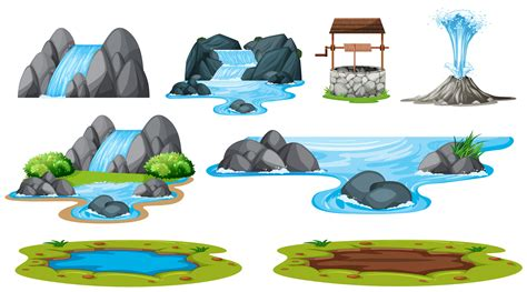 Set of isolated water element - Download Free Vectors