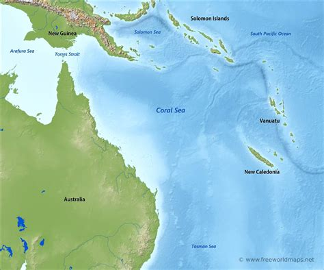 Coral Sea map - by Freeworldmaps